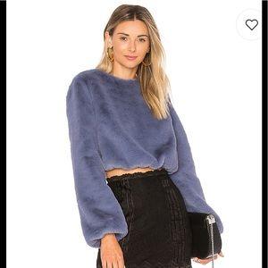Lovers + friends faux fur teagan sweater sz XS
